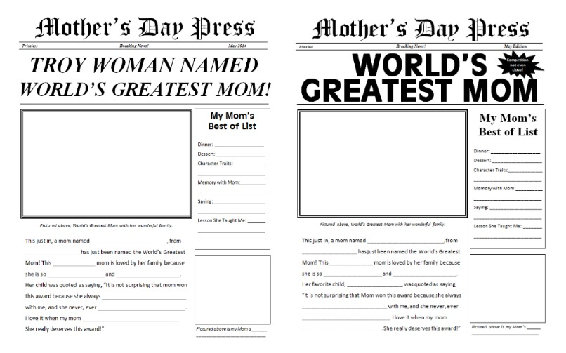 Printable Mothers Day Sheets For Kids South Shore Mamas