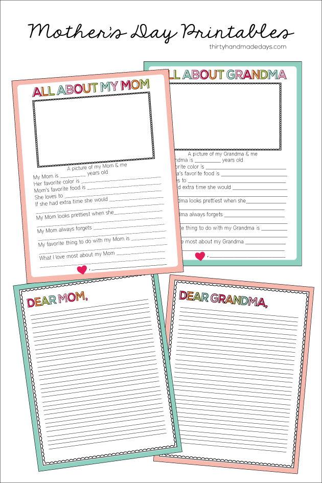 Printable Motheru0027s Day Sheets For Kids
