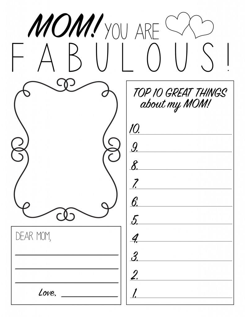 Printable Mother s Day Sheets for